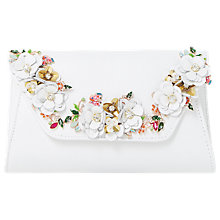Buy Dune Bathilda Leather Floral Trim Clutch Bag, White Online at johnlewis.com