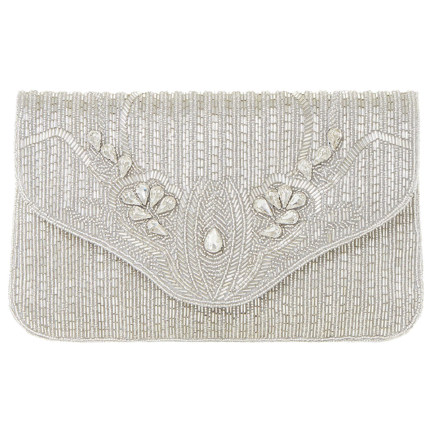 Dune Ezzo Beaded Clutch Bag Silver Online At Johnlewis
