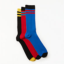 Buy Kin by John Lewis Bright Stripes Socks, Pack of 3, One Size, Blue/Red/Black Online at johnlewis.com