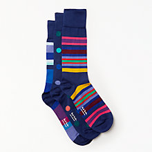 Buy Ted Baker Spots and Stripes Socks, One Size, Pack of 3, Multi Online at johnlewis.com