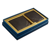 Buy Ted Baker Activos Leather Wallet and Card Holder Set, Chocolate Online at johnlewis.com