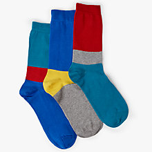 Buy Kin by John Lewis Colour Block Socks, Pack of 3, One Size, Blue/Red/Yellow Online at johnlewis.com