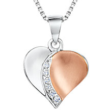 Buy Jools by Jenny Brown Cubic Zirconia Two Toned Heart Necklace, Silver/Rose Gold Online at johnlewis.com