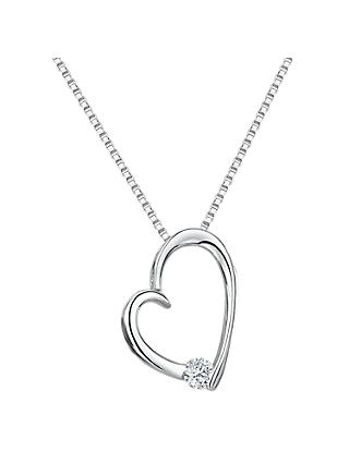 Jools by Jenny Brown Cubic Zirconia Asymmetric Studded Heart Necklace, Silver