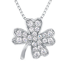 Buy Jools by Jenny Brown Cubic Zirconia Clover Necklace, Silver Online at johnlewis.com