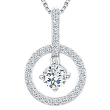 Buy Jools by Jenny Brown Cubic Zirconia Suspended Stone Drop Circle Necklace, Silver Online at johnlewis.com