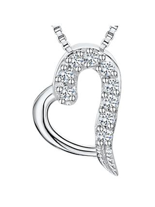 Jools by Jenny Brown Cubic Zirconia Heart Necklace, Silver