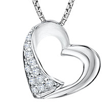 Buy Jools by Jenny Brown Rhodium Plated Cubic Zirconia Heart Pendant Necklace, Silver Online at johnlewis.com