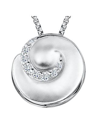 Jools by Jenny Brown Cubic Zirconia Swirl Pendant Necklace, Silver