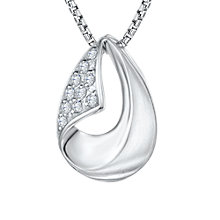 Buy Jools by Jenny Brown Cubic Zirconia Turn Over Hollowed Teardrop Necklace, Silver Online at johnlewis.com