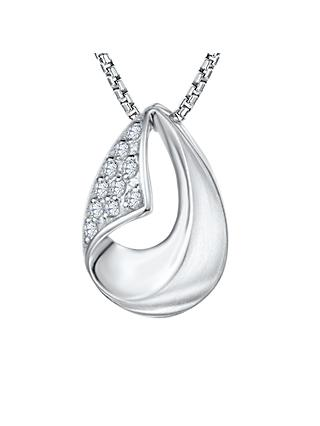 Jools by Jenny Brown Cubic Zirconia Turn Over Hollowed Teardrop Necklace, Silver