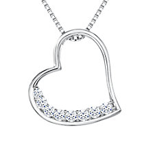 Buy Jools by Jenny Brown Cubic Zirconia Brimming Asymmetric Heart Necklace, Silver Online at johnlewis.com