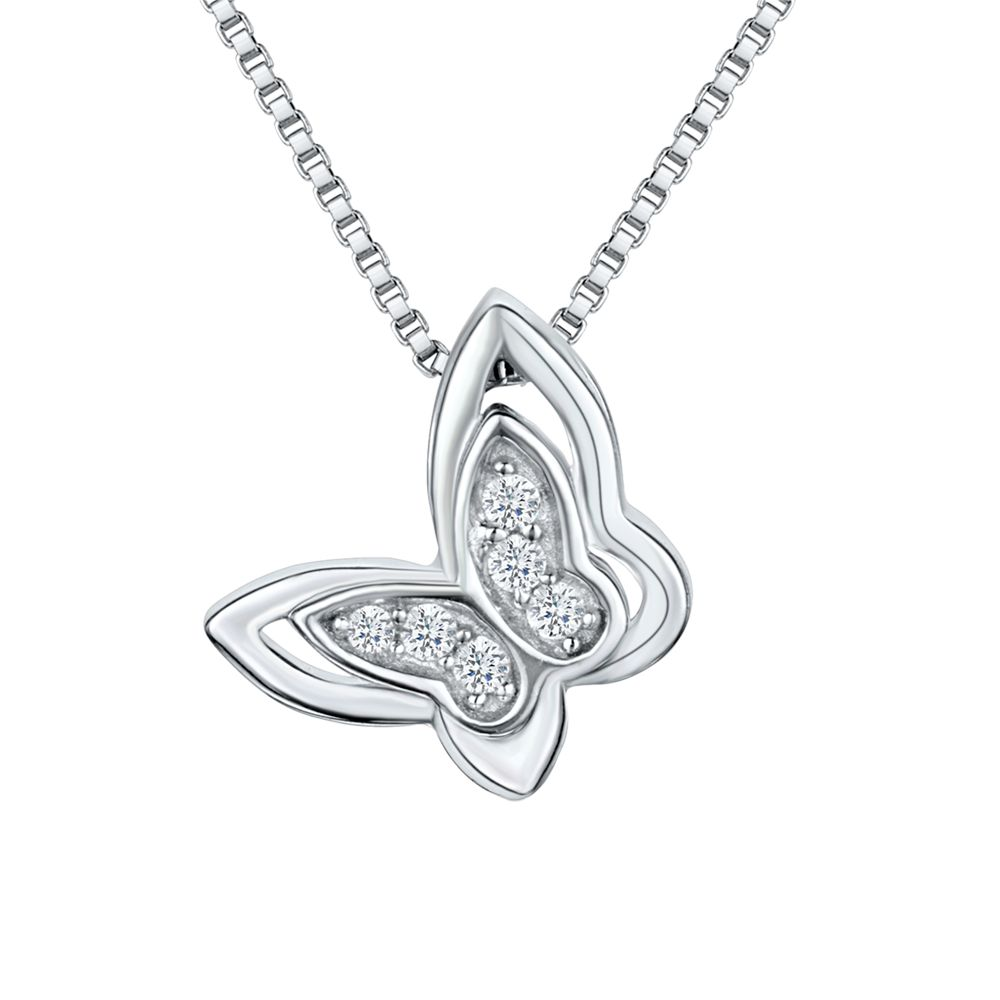 Jools by Jenny Brown Jools by Jenny Brown Cubic Zirconia Butterfly Necklace, Silver
