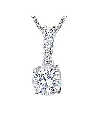 Jools by Jenny Brown Cubic Zirconia Drop Stemmed Stone Necklace, Silver