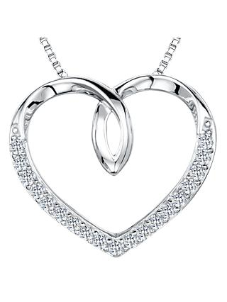 Jools by Jenny Brown Cubic Zirconia Looped Heart Necklace, Silver