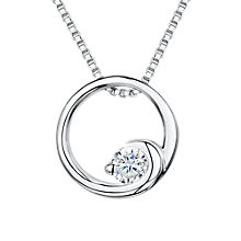 Buy Jools by Jenny Brown Cubic Zirconia Crashing Wave Circle Necklace, Silver Online at johnlewis.com