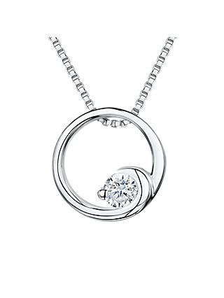Jools by Jenny Brown Cubic Zirconia Crashing Wave Circle Necklace, Silver