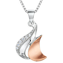 Buy Jools by Jenny Brown Cubic Zirconia Two Toned Melting Moon Necklace, Silver/Rose Gold Online at johnlewis.com