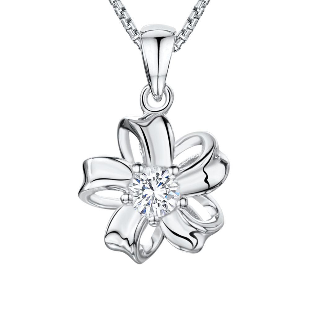 Jools by Jenny Brown Jools by Jenny Brown Cubic Zirconia Looped Bloom Necklace, Silver