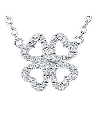 Jools by Jenny Brown Cubic Zirconia Mirrored Hearts Necklace, Silver