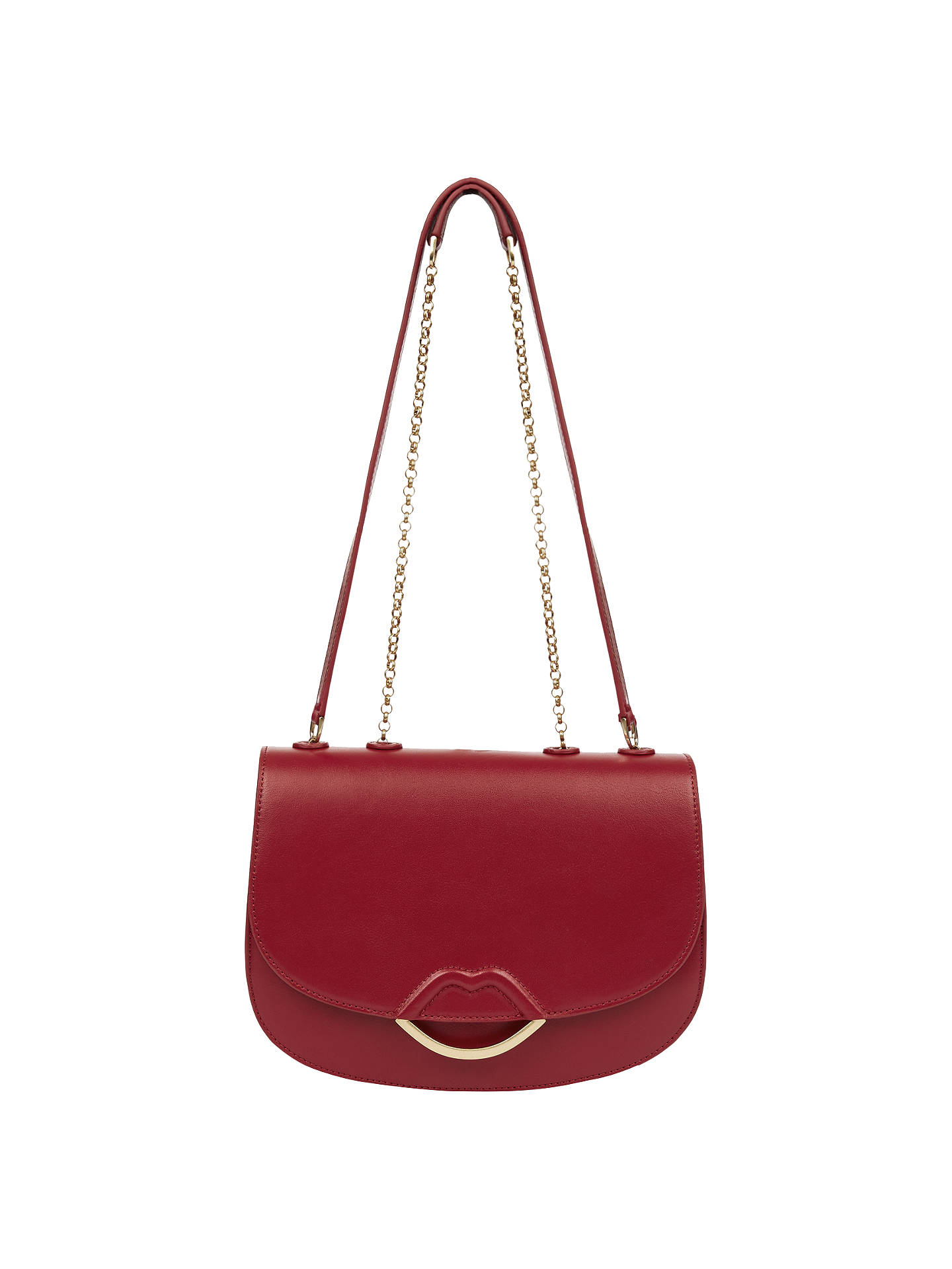 28d3adcaa Buy Lulu Guiness Isabella Half Covered Lips Leather Medium Cross Body Bag,  Red Online at ...