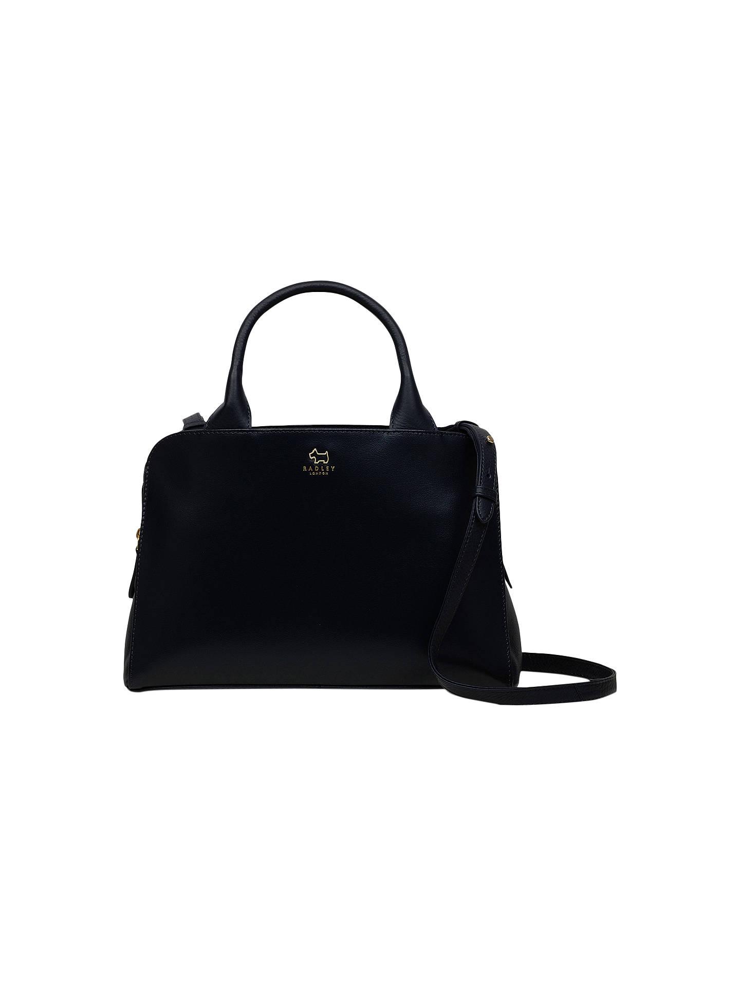 Radley Millbank Leather Medium Grab Bag Navy Online At Johnlewis