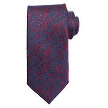 Buy John Lewis Small Floral Silk Tie, Navy/Burgundy Online at johnlewis.com