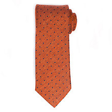 Buy John Lewis Textured Dot Wool Silk Tie, Orange/Navy Online at johnlewis.com