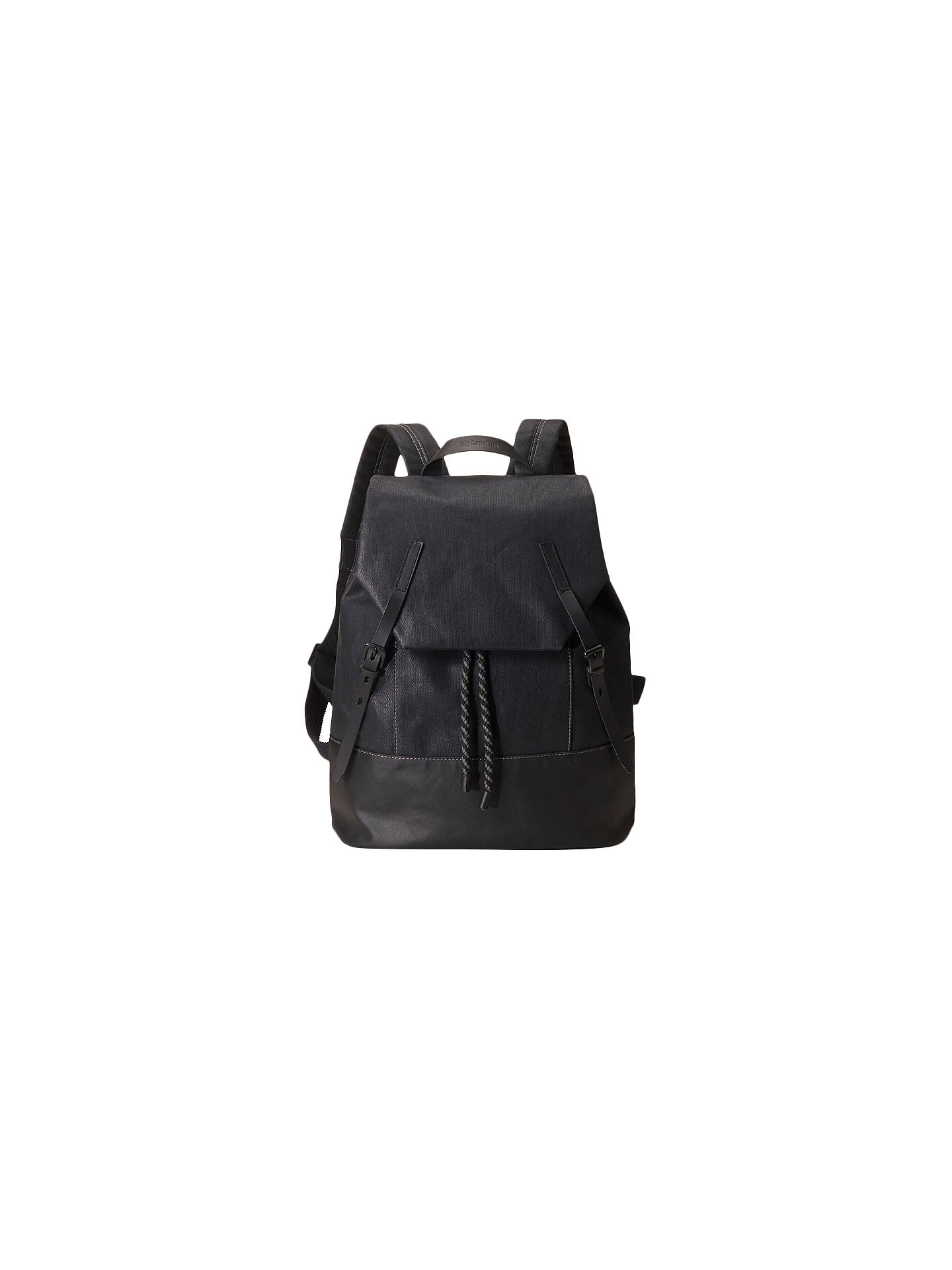 BuyAlly Capellino Dean Waxed Canvas Backpack, Black Online at johnlewis.com  ... a746e6a122