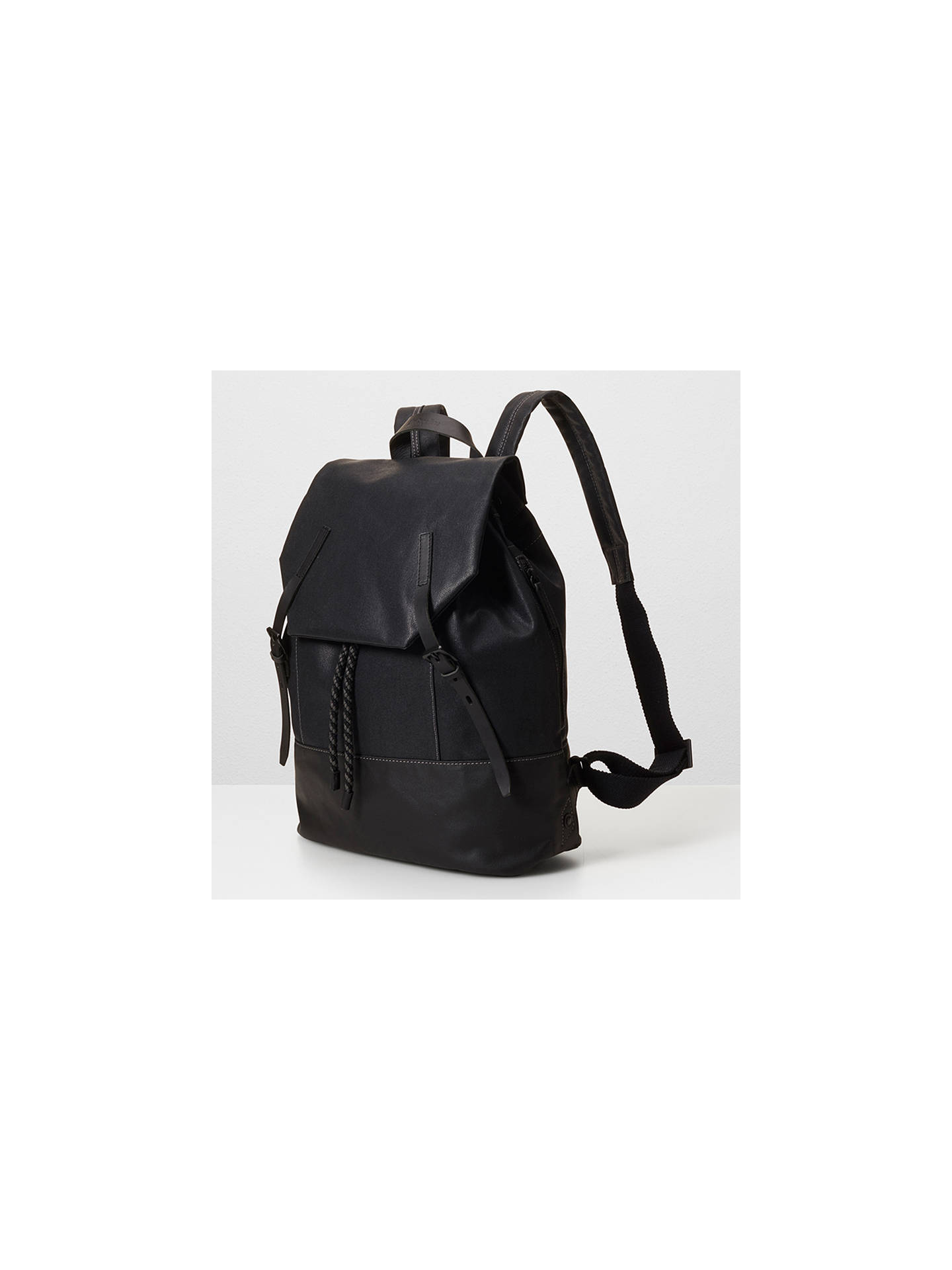 ... BuyAlly Capellino Dean Waxed Canvas Backpack, Black Online at  johnlewis.com ... 27bc7eb3c2