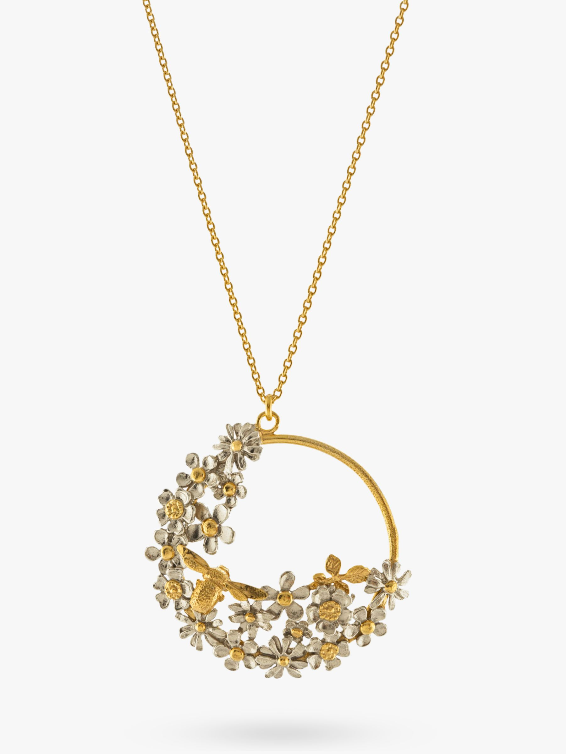 Alex Monroe Alex Monroe Flower and Bee Spring Pendant Necklace, Gold