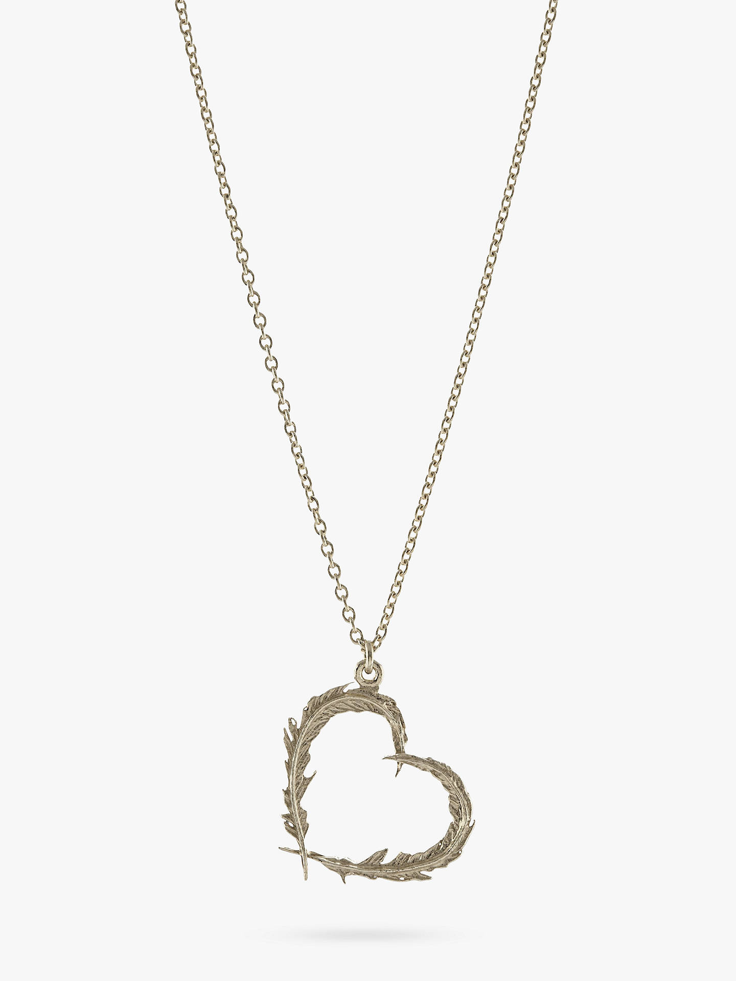 BuyAlex Monroe Sterling Silver Open Heart Leaves Pendant Necklace, Silver Online at johnlewis.com