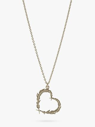 Alex Monroe Sterling Silver Open Heart Leaves Pendant Necklace, Silver