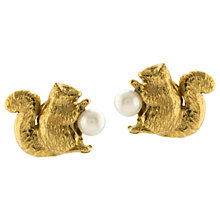 Buy Alex Monroe Squirrel Freshwater Pearl Stud Earrings, Gold Online at johnlewis.com