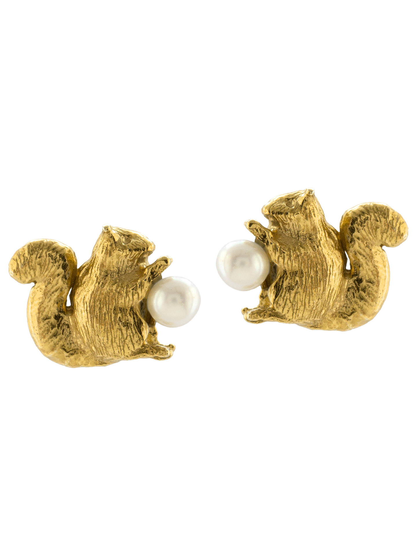 BuyAlex Monroe Squirrel Freshwater Pearl Stud Earrings, Gold Online at johnlewis.com