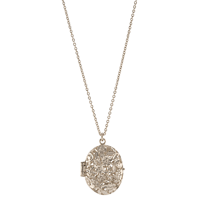 Product photo of Alex monroe sterling silver oval floral locket pendant necklace silver
