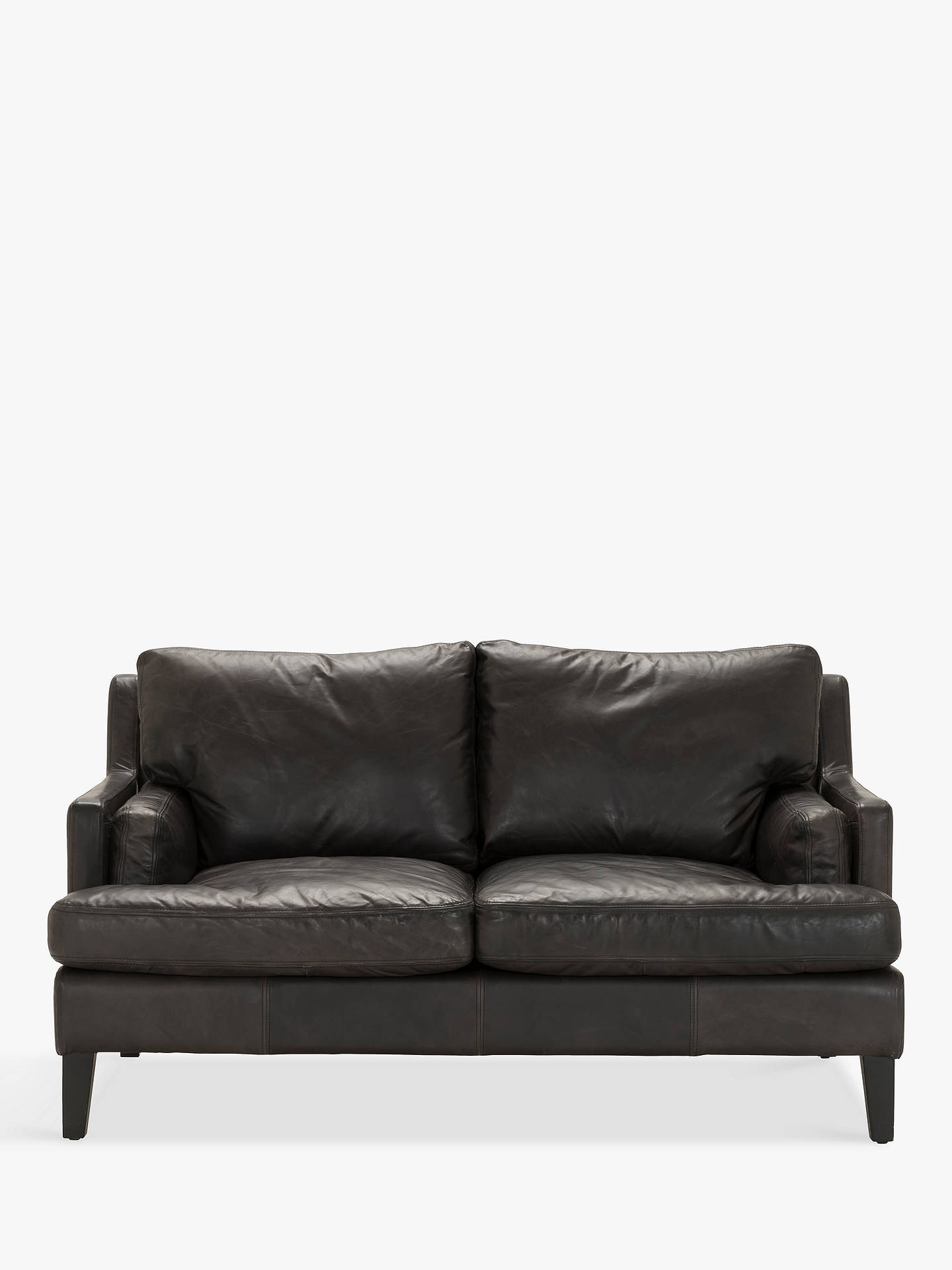 Halo Canson Medium 2 Seater Leather Sofa, Riders Black at John Lewis ...