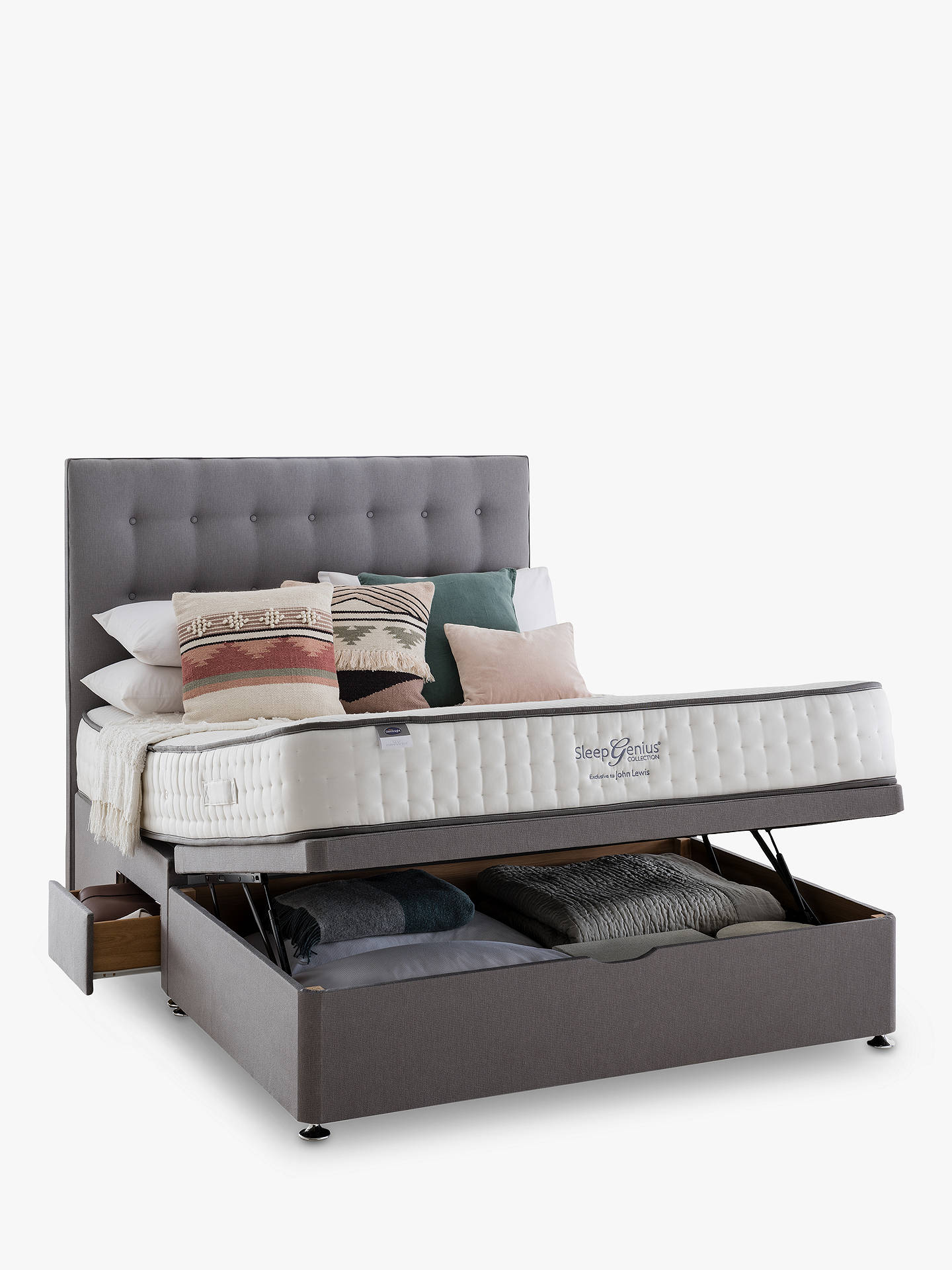 Buy Silentnight 2 Drawer Continental End Divan Storage Bed, Double Online at johnlewis.com