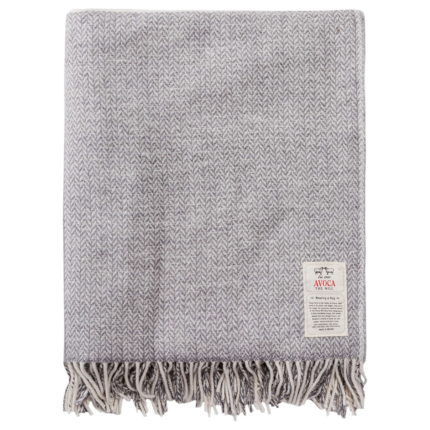 BuyAvoca Stella Cashmere Blend Throw, Grey Online at johnlewis.com