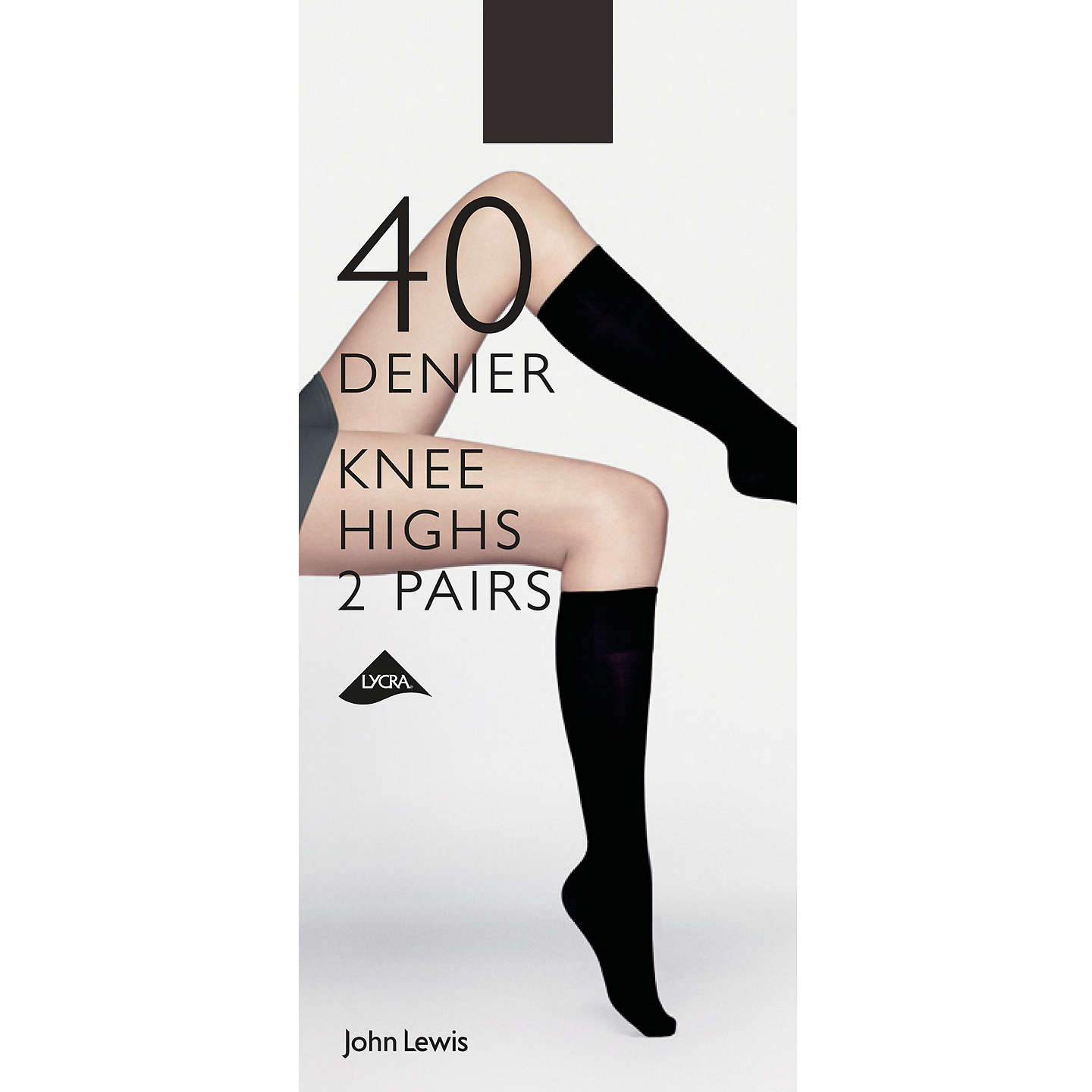 BuyJohn Lewis 40 Denier Knee Highs, Pack of 2, Black Online at johnlewis.com
