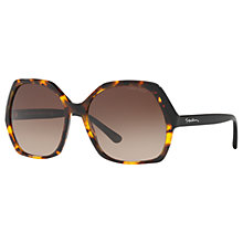 Buy Giorgio Armani AR8099 Pentagonal Sunglasses, Brown Havana/Brown Gradient Online at johnlewis.com