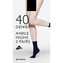 Buy John Lewis 40 Denier Ladder Resist Opaque Ankle Socks, Pack of 2 Online at johnlewis.com
