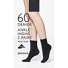 Buy John Lewis 60 Denier Velvet Touch Ankle Socks, Pack of 2, Black Online at johnlewis.com