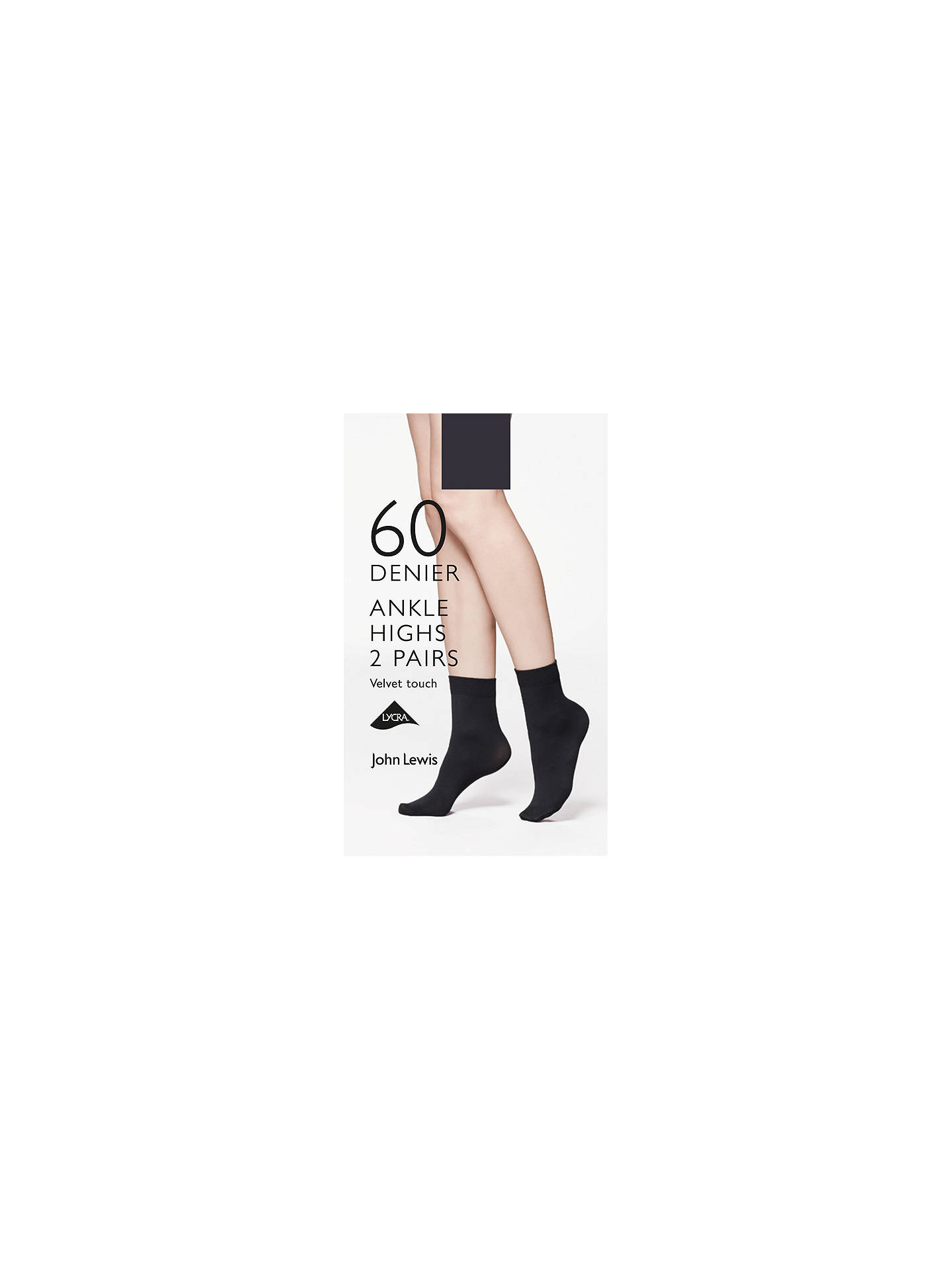 BuyJohn Lewis & Partners 60 Denier Velvet Touch Ankle Socks, Pack of 2, Black Online at johnlewis.com