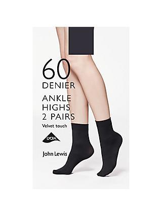 79966de99ca33 John Lewis & Partners 60 Denier Velvet Touch Ankle Socks, Pack of 2, Black
