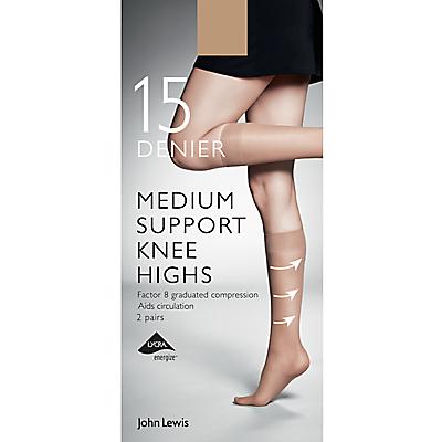 John Lewis 7 Denier Medium Support Knee High Socks, Pack of 2