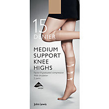 Buy John Lewis 7 Denier Medium Support Knee High Socks, Pack of 2 Online at johnlewis.com
