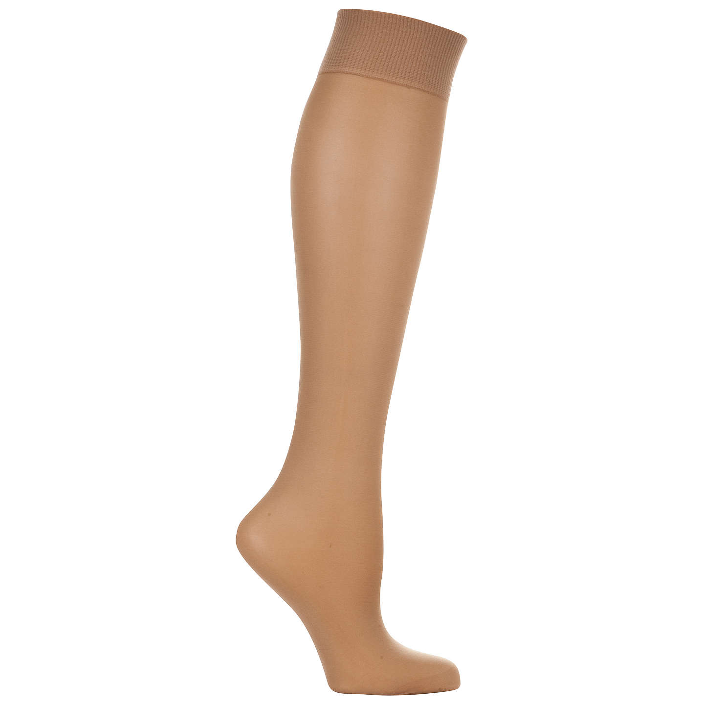 BuyJohn Lewis 7 Denier Medium Support Knee High Socks, Pack of 2, Nude Online at johnlewis.com