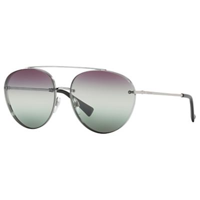 Valentino VA2009 Aviator Sunglasses, Silver/Multi Gradient
