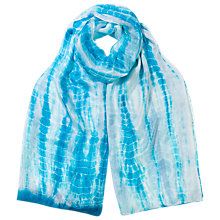 Buy East Silk Tie Dye Scarf, Turquoise Online at johnlewis.com